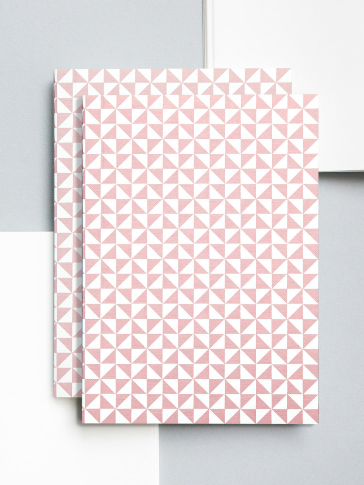 Ola Ola Medium Layflat Notebook - Kaffe Print in Clay Pink/Plain Pages