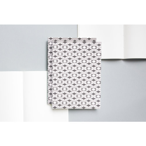 Ola Medium Layflat Notebook - Diamond Print in Grey/Plain Pages