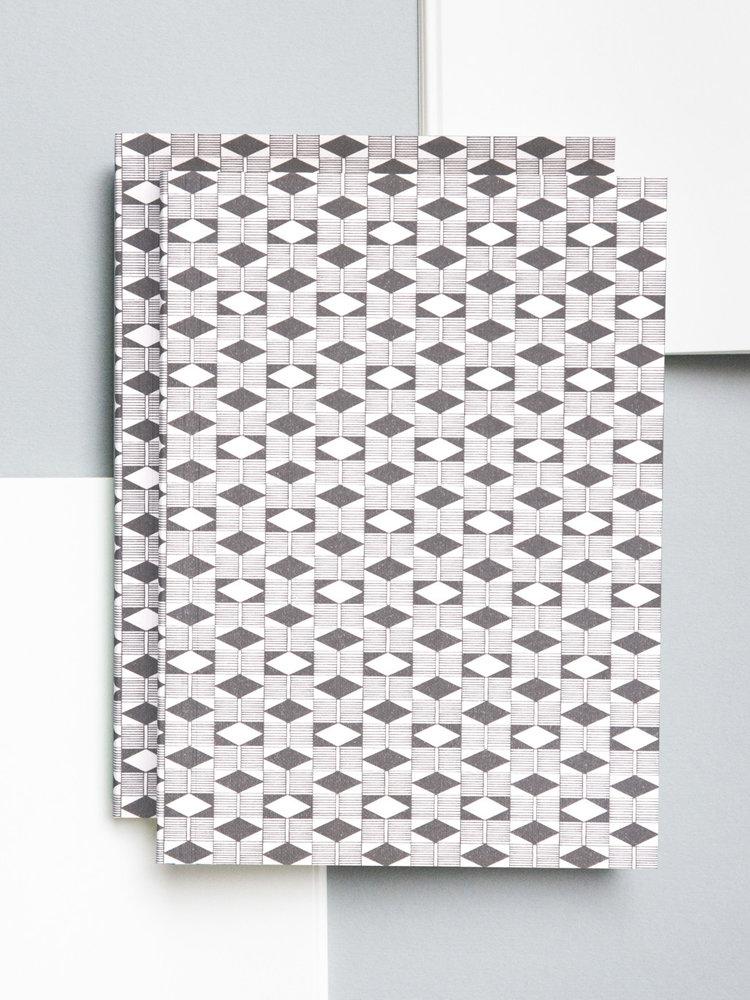 Ola Ola Medium Layflat Notebook - Diamond Print in Grey/Plain Pages