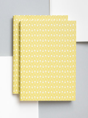 Ola Ola Medium Layflat Notebook - Dash Print in Leaf Green/Ruled Pages