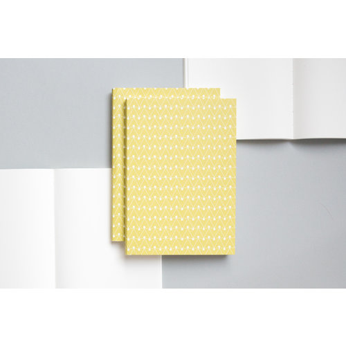 Ola Medium Layflat Notebook - Dash Print in Leaf Green/Ruled Pages