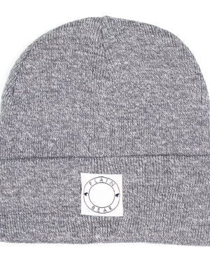 Plain Bear Label Beanie in heather grey