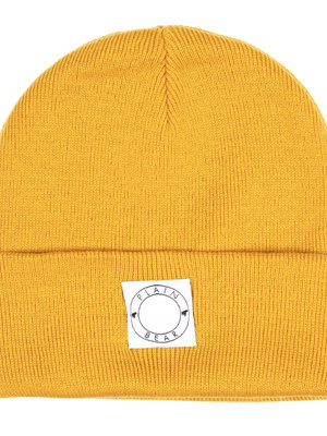 Plain Bear Label Beanie in mustard