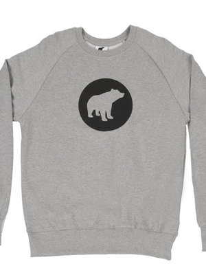 Plain Bear Black logo on grey sweater