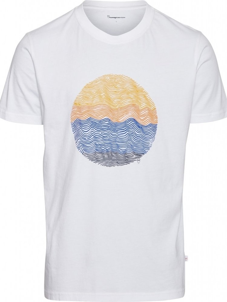 KnowledgeCotton KnowledgeCotton Alder Wave Bright white  Tee