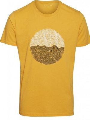 KnowledgeCotton Alder Wave t-shirt in zennia yellow