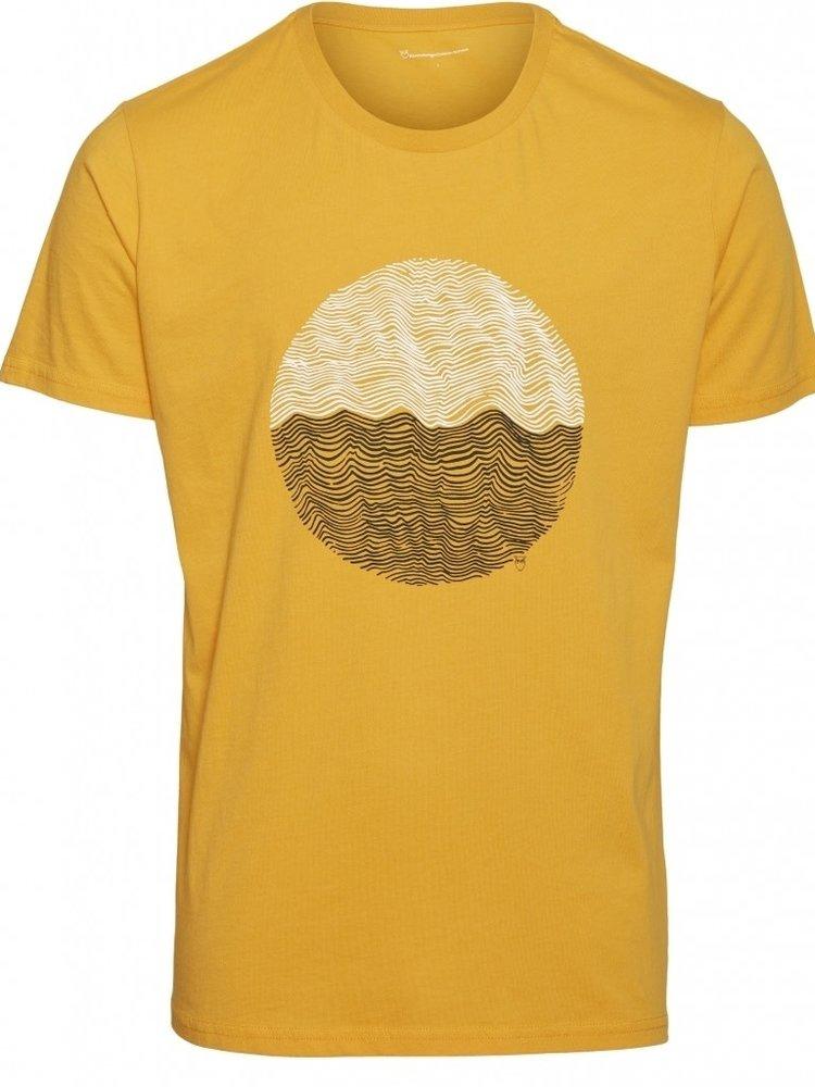 KnowledgeCotton KnowledgeCotton Alder Wave t-shirt in zennia yellow
