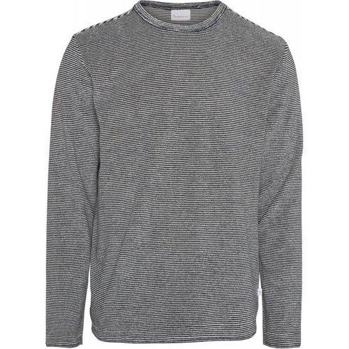 KnowledgeCotton Striped crew neck grey sweater