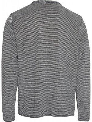 KnowledgeCotton KnowledgeCotton striped crew neck grey sweater