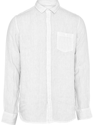 KnowledgeCotton Larch LS linen shirt in bright white