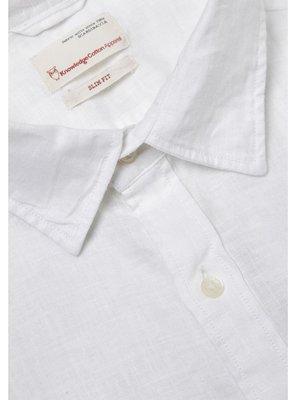 KnowledgeCotton KnowledgeCotton Larch LS linen shirt in bright white