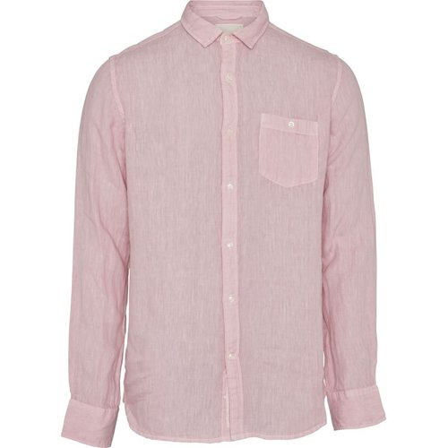 KnowledgeCotton Larch LS linen shirt in pink nectar