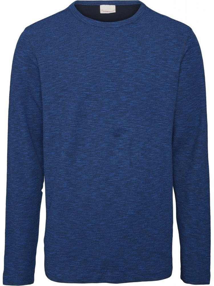 KnowledgeCotton KnowledgeCotton Elm double layered striped blue sweater