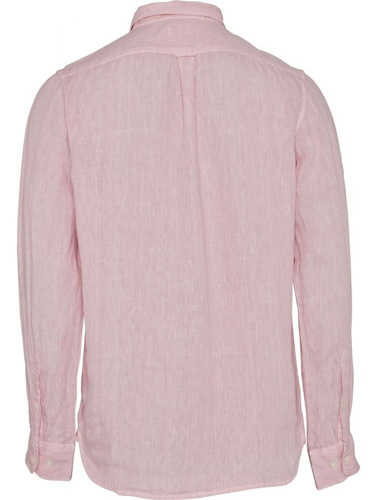 KnowledgeCotton KnowledgeCotton Larch LS linen shirt in pink nectar