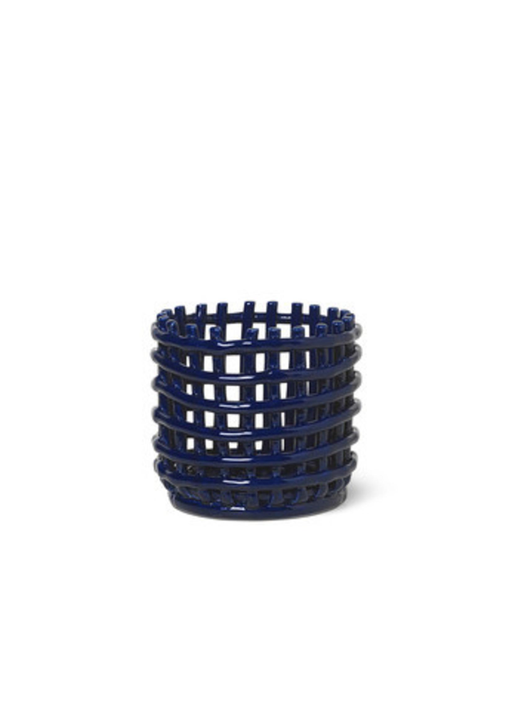 ferm LIVING ferm LIVING Ceramic Basket - Small - Blue