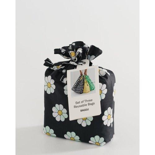 Baggu Standard Reusable Bag - Set of 3 - Daisy