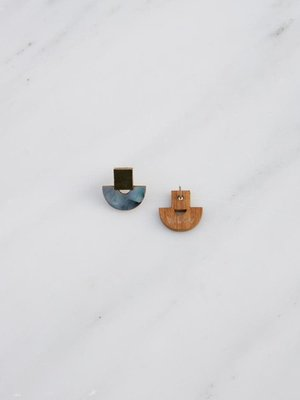 Wolf & Moon Mini Marina Studs in Blue Mother of Pearl