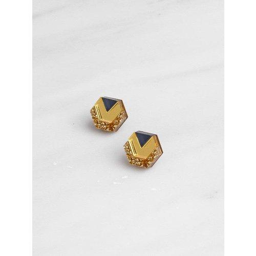 Wolf & Moon Originals Little Hex Studs - Gold Glitter/Gold/Navy