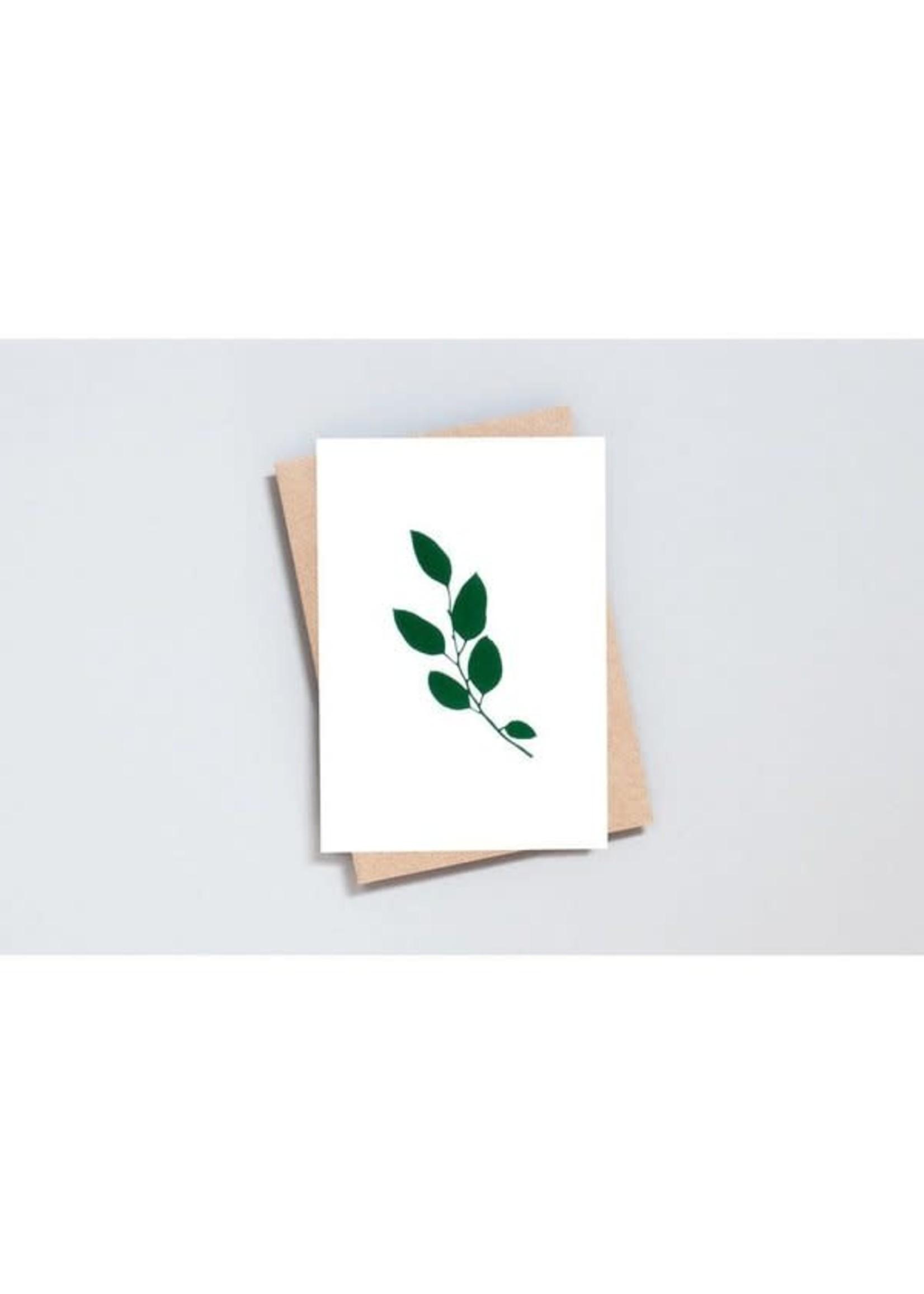 Ola Ola Foil Blocked Card Botanical Collection - Eucalyptus Print in Ivory/Green