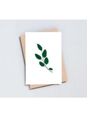 Ola Ola Foil Blocked Card Botanical Collection - Eucalyptus Print in Ivory/Green