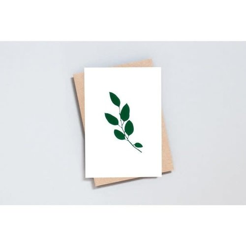 Ola Foil Blocked Card Botanical Collection - Eucalyptus Print in Ivory/Green