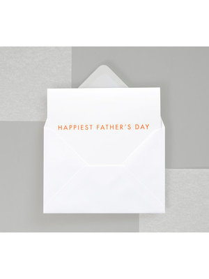 Ola Foil Blocked Fluorescent Cards: Happiest Fathers Day Print in Neon Orange/White