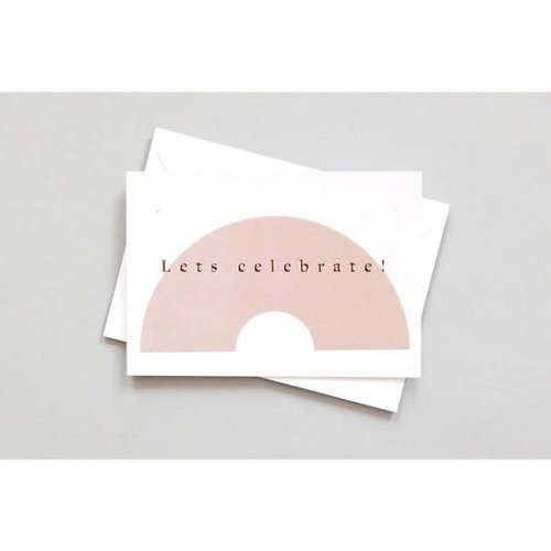 Ola Foil Blocked Card Conscious Collection - Lets Celebrate Print in Pink/Rose Gold