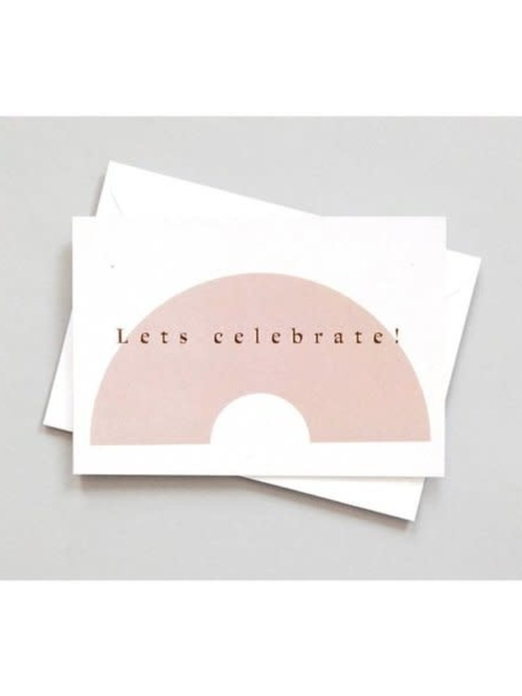 Ola Ola Foil Blocked Card Conscious Collection - Lets Celebrate Print in Pink/Rose Gold