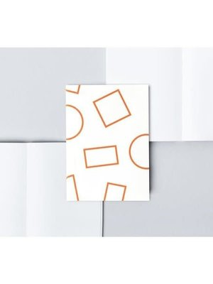 Ola Pocket Layflat Notebook: Shapes Print in White and Orange/Plain Pages