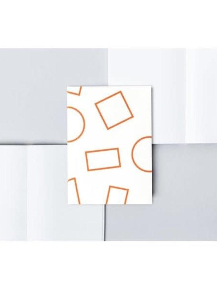 Ola Ola Pocket Layflat Notebook: Shapes Print in White and Orange/Plain Pages