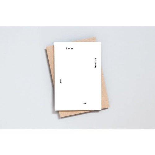 Ola Foil Blocked Cards: Happy Birthday To You Print in Natural/Black