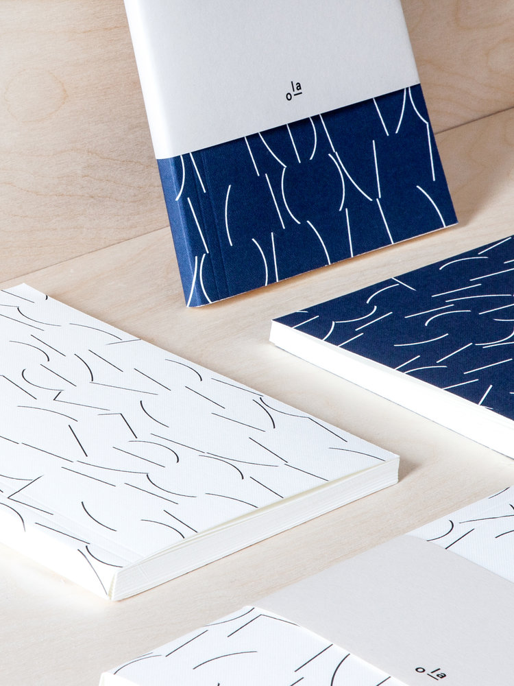 Ola Ola Medium Layflat Notebook - Sol Print in Navy/Ruled Pages