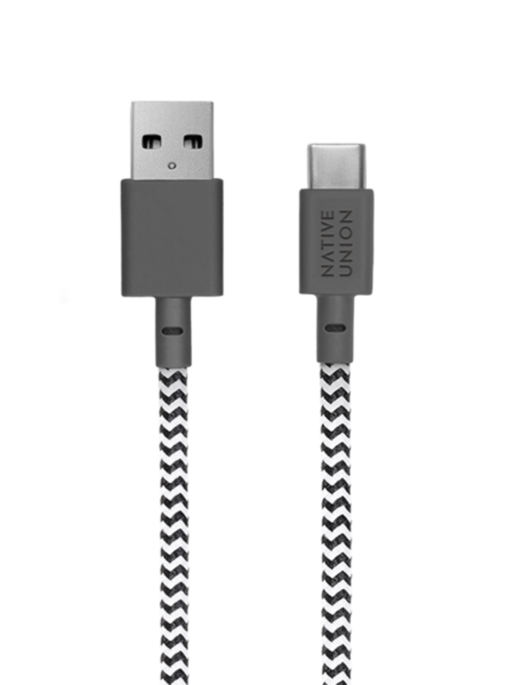Native Union Native Union Belt Cable 1.2m - USB - USB-C - Zebra