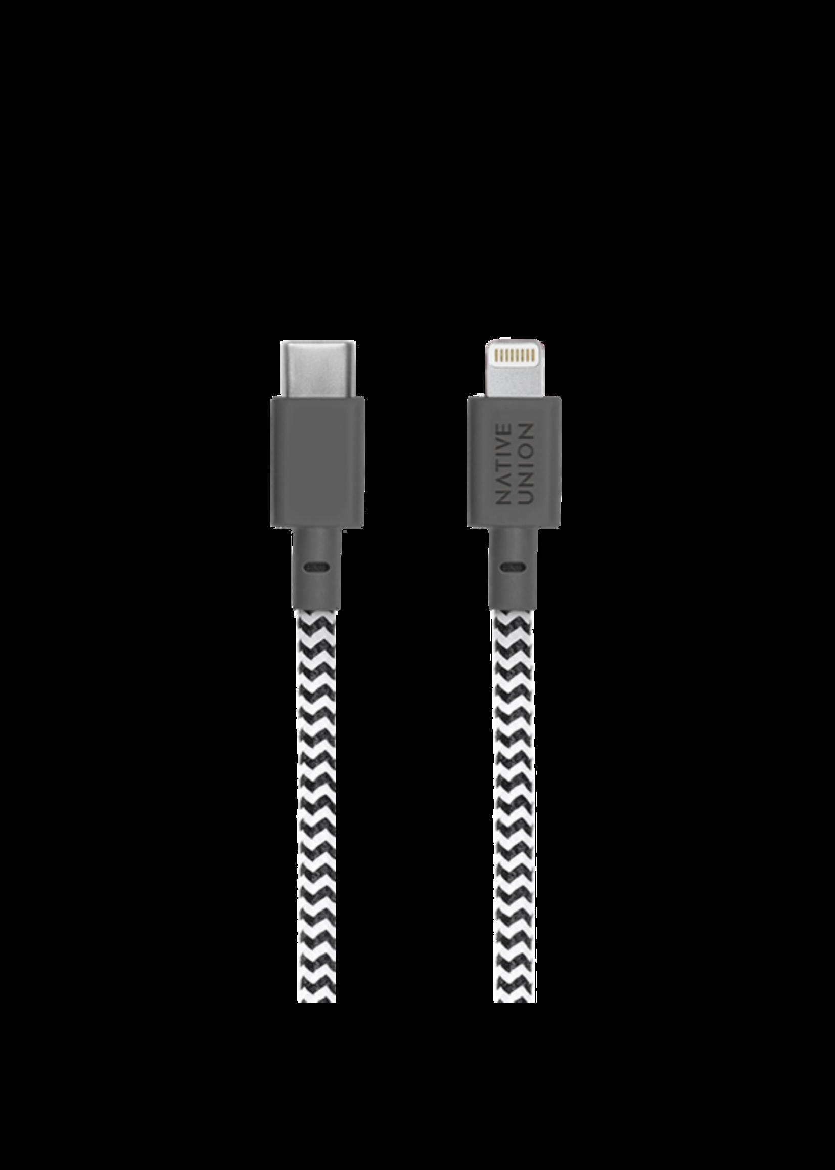 Native Union Native Union Belt Cable 1.2m - Lightning - USB-C - Zebra