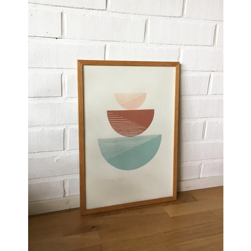 Bcntku Art Studio Oy The sage and terracotta. Study of balance with gradient triangles Print