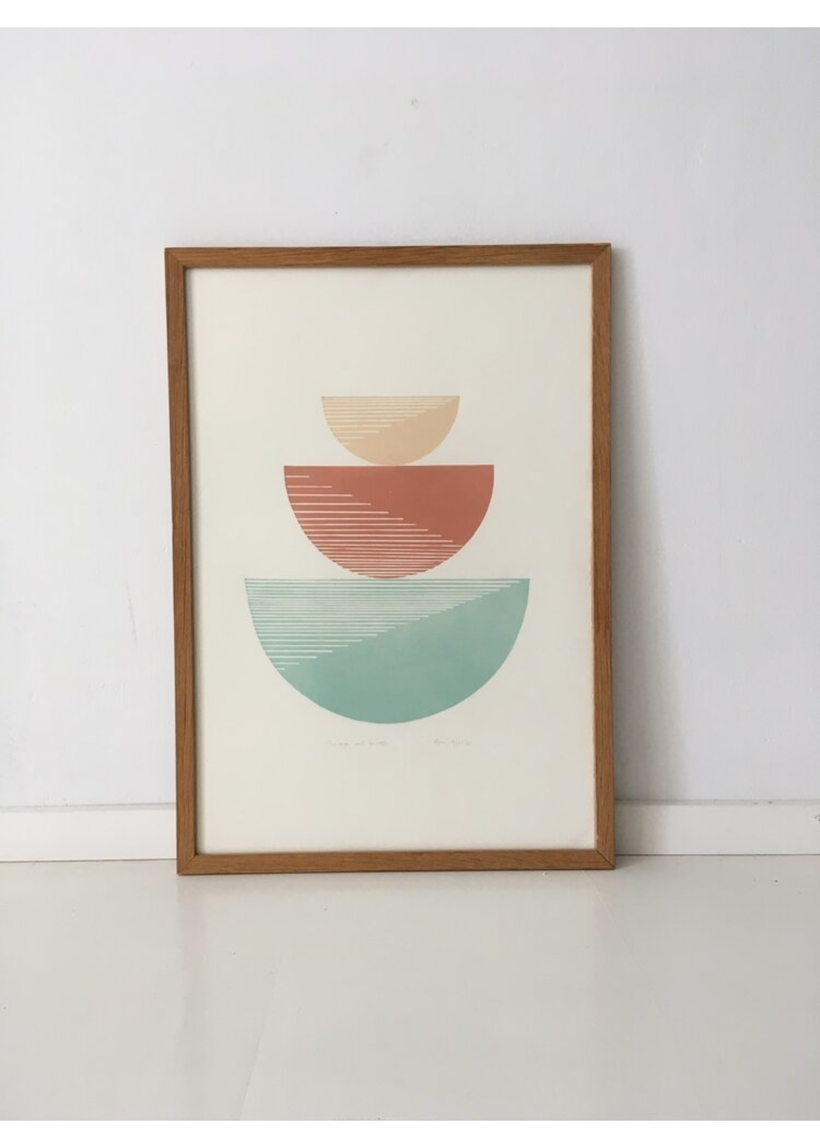 Bcntku Art Studio Oy Bcntku Art Studio Oy The sage and terracotta. Study of balance with gradient triangles Print