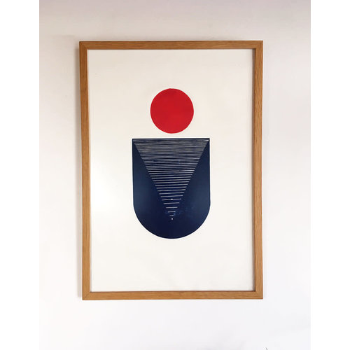 Bcntku Art Studio Oy Red Moon. Study of balance with circles Print