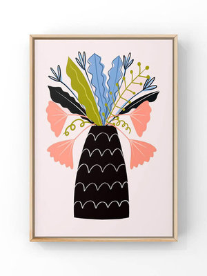 Melissa Doone Leaves in Patterned Vase A4 Print