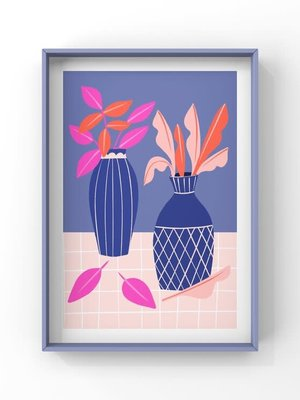 Melissa Doone Blue Vases and Pink Leaves A4 Print