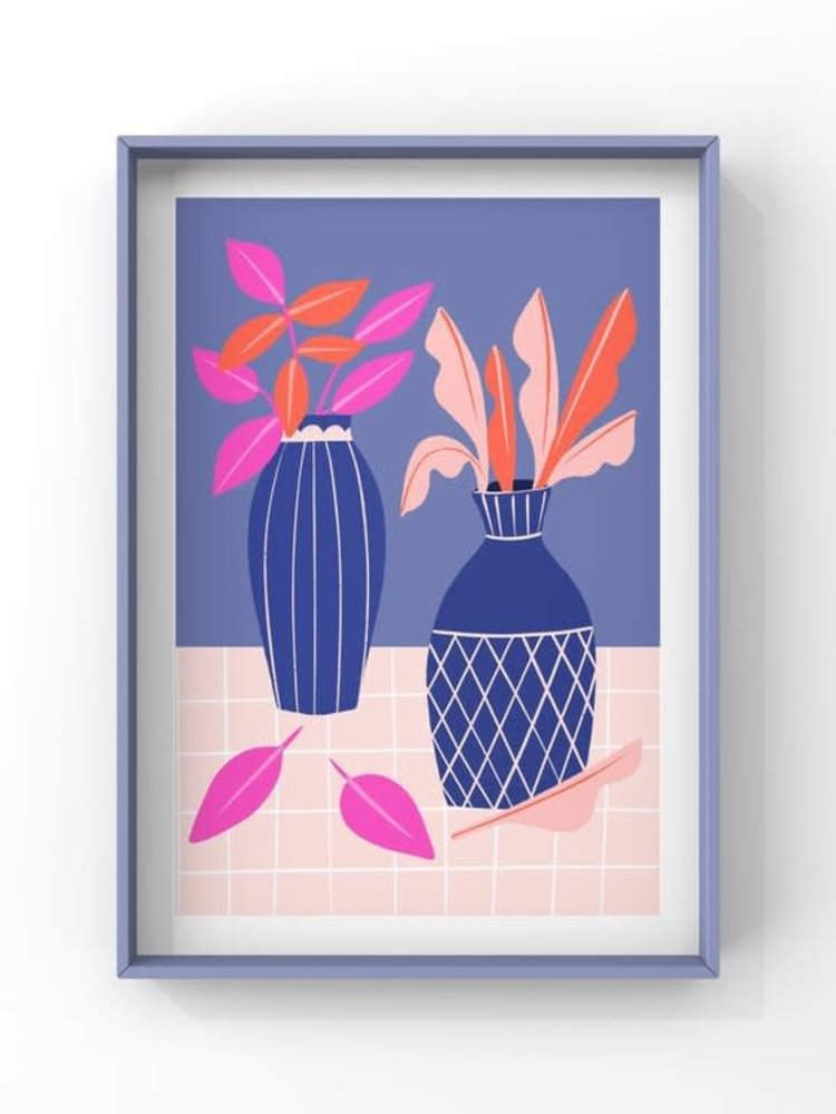 Melissa Doone Melissa Doone Blue Vases and Pink Leaves A4 Print