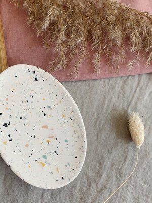 Badger & Birch Oval Soap Dish - Speckle Terrazzo