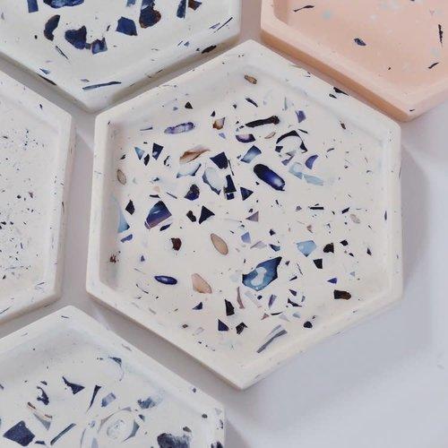 Badger & Birch Hexagon Trivet - White and Mussel Shell