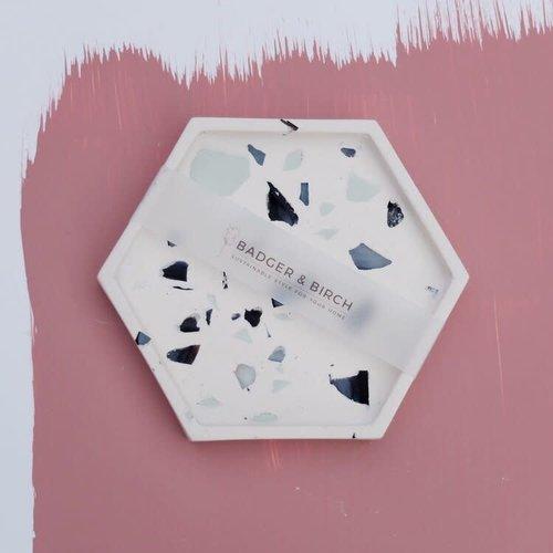 Badger & Birch Hexagon Trivet - White, Mint and Mussel Shell
