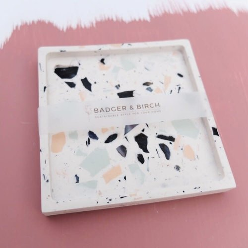 Badger & Birch Square Trivet - White, Coral, Mint, Mussel Shell Terrazzo
