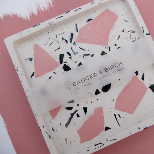 Badger & Birch Square Trivet - White, Pink, Mussel Shell terrazzo