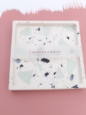 Badger & Birch Square Trivet - Mint, Mussel Shell terrazzo