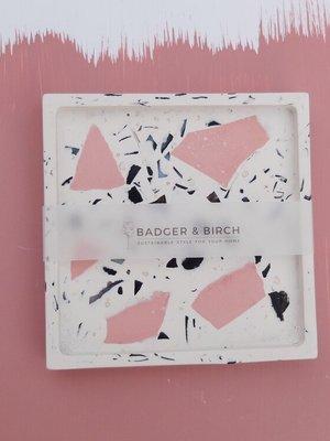Badger & Birch Badger & Birch Square Trivet - White, Pink, Mussel Shell Terrazzo