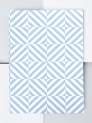 Ola Medium Layflat Notebook - Alma Print in Salvia Blue/Plain Pages