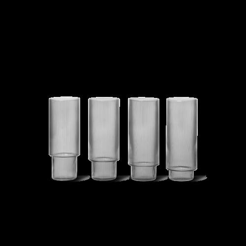 ferm LIVING Ripple Tall Glass (Set of 4) - Smoked Glass