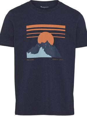 KnowledgeCotton ALDER heavy Navy tee mountain print